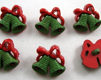 Christmas Bell Buttons in Green and Red No.105