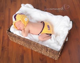 LSU Football Helmet and Diaper Cover, Newborn Photo Prop, Newborn to Six Months, Crochet Helmet, LSU Football Team, Sport Set for Baby,