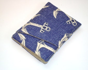 Nautical Wallet - Mens money pocket / Sleek card holder / modern wallet with Anchors / Front Pocket wallet