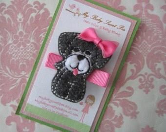 Girl hair clip - puppy hair clips - girl barrettes