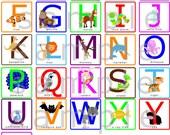 Alphabet Letters Wall Decal - Alphabet Animals Wall Decal - Capital Letters Wall Decal - Uppercase ABCs Wall Sticker Decal reusable -HD