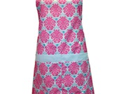 Pink and Turquise  Damask  apron