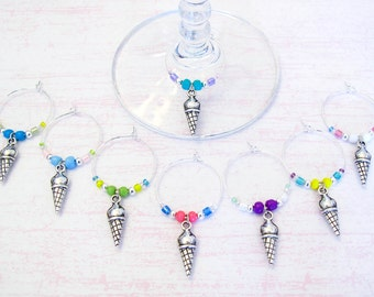 Ice Cream Cone Wine Charms - set of 8 Wine Glass Charms