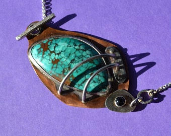 Turquoise, Copper, Sterling Silver, Black Onyx Pendant