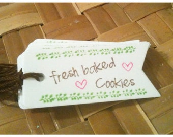 Bake Sale Bakery Tags Fresh Baked Cookies Banner Flag Gift Tag Hand Stamped Die Cut Pink Green Brown Farmers Market Bakers Dozen Set of 20