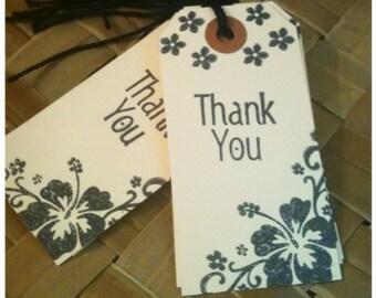Hawaiian Flowers Thank You Handmade Gift Tags Black Ink Heavyweight Manila Set of 10