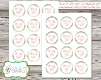 Cupcake toppers for baby shower with gray chevron, pink, and yellow. Instant download, printable, digital file (#10)
