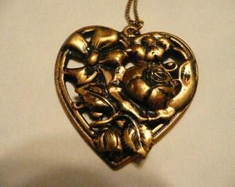 Vintage Brass Filagree Heart