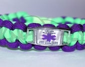 Latex Allergy Medical Alert ID ALLOY Charm on 550 Paracord Survival Strap Bracelet with Plastic Contoured Side Release Buckle