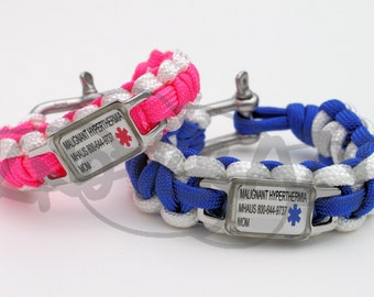 Custom Made For You Medical Alert ID STAINLESS Steel Charm on 550 Paracord Survival Strap Bracelet with Stainless Steel Shackle