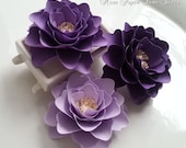 Paper Flowers - Wedding Decor - Table Decorations - Shades of Purple  - Made to Order - Set of 50