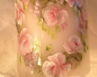 Hp shabby cottage roses candle French chic heart