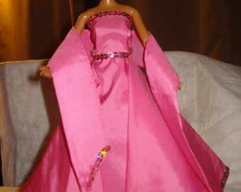 Pink taffeta formal dress and shall with sequin trim and Tulle under skirt for Fashion Dolls - ed384