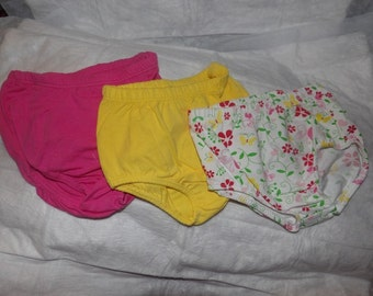 3 pair of newborn to 3 months diaper covers in pink, yellow and floral print - dcs7
