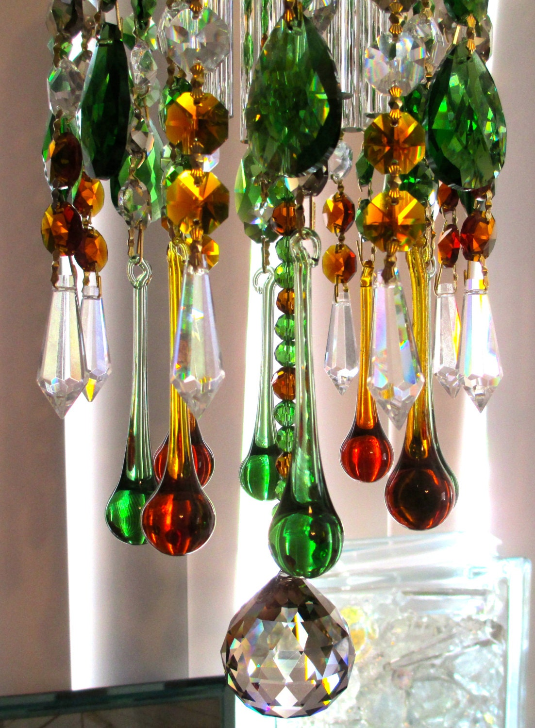 Chandelier Crystal Prism Wind Chime Amber Green Honey