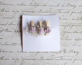 Scrapbooking embellishment, clothespin with flowers, Lavender, #2