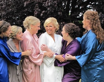 Bridesmaid Robes, wedding robes, bridesmaid silk robe, dressing gown, personalized silk robe, kimono robes, floral robe, bridal robe