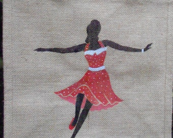 Swing Lindy Hop Dancing hand painted jute bag