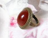 carnelian czech glass ring boho ring sepia ring bronze ring czech glass ring stone ring boho brown ring