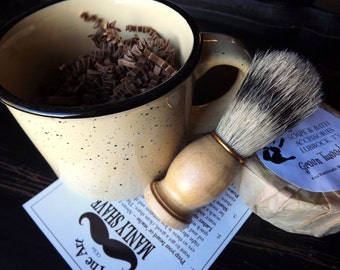 Stoneware Look Shaving Mug Set, , Grooming Kit, Boar Brush, Handmade Soap