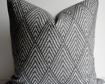 Grey Chevron Decorative Pillow Cover  Lacefield Designer charcoal throw pillow, Both Sides Tahitian Stitch ikat pillow, squares and lumbar