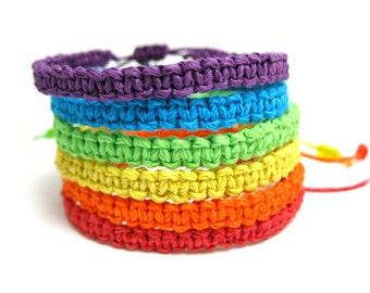 Rainbow Hemp Bracelet Stack, Set of 6 Macrame Woven Friendship Bracelets