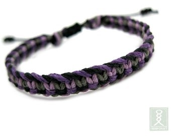 Hemp Bracelet, Black and Purple Hand Knotted, Friendship Bracelet