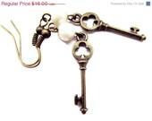 ON SALE Antique Key Earrings, skeleton key, Tiny key earrings ,