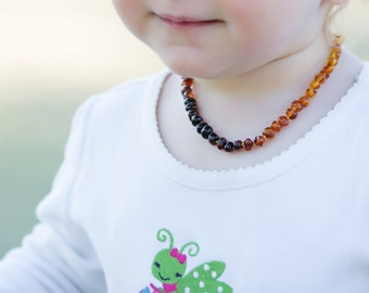 Baltic Amber Baby Teething Necklace Rainbow Baroque Natural