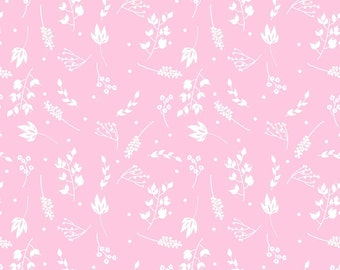 Floriography Fabric, Floriography Branches in Pink by Riley Blake