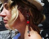 Red Bamboo Coral Earrings, 35th Anniversary Gift, Bohemian Gemstone Earrings, Summer Funky Jewelry,