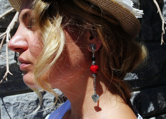 Red Bamboo Coral Earrings, 35th Anniversary Gift, Bohemian Gemstone Earrings, Summer Funky Jewelry,
