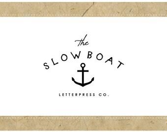 PreDesigned Logo - PreMade Logo - Vector Logo - SLOW BOAT Logo Design - Anchor Logo - Nautical Logo - Ocean Logo - Vintage Logo