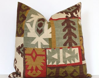 "Red and Green Southwestern Designer Cushion Cover 18"" Accent Pillow tan brown cottage natural olive gold rustic cabin geometric"