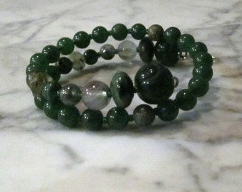 Natural Green Stone and Crystal Heart Chakra Healing Bracelet