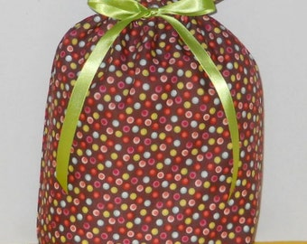 Multi-Colored Dots on Brown Medium Fabric Gift Bag - Polka Dots, Small Dots, Lime Green, Blue, Pink, Red, White, All Occasion