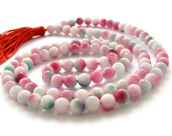 8mm Tibetan Round Colorful Stone 108 Buddhist Buddha Prayer Beads Mala Necklace  ZZ275