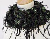 Knitted Green Black Frilly Ribbon Scarf, Short Ribbon Scarf -
