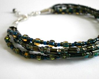 Blue Beaded Multi Strand Bracelet Adjustable Sterling Silver Bracelet Multi Color Seed Bead Bracelet