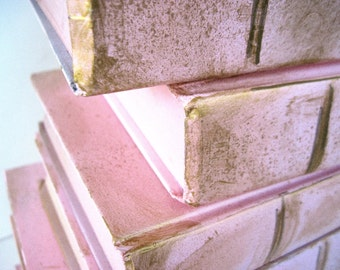 Pink Wedding Books, Pink Wedding Decor, Romantic Wedding, Fairytale Wedding, Pink Nursery Books, Pink Painted Books, Pink and Gold Books
