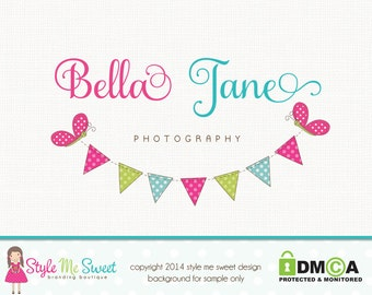 Premade Photography Logo Butterfly Logo Bunting Logo Boutique Logo Hand Drawn Logo Graphic Design Bespoke Logo Design Party Logo Design