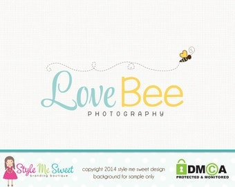 Bee Logo Design Photography Logo Premade Hand Drawn Small Business Boutique Watermark Logo