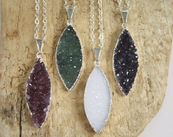 FLASH SALE Agate Druzy Necklace Druzy Drusy Quartz Marquis Pendant Sterling Silver