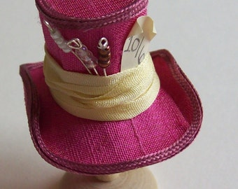 Pretty 1/12 scale handmade dollhouse miniature  mad hatters pink silk hat