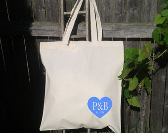 Wedding Welcome Tote - Welcome Bags -Destination Wedding-Heart with Initials and Date- You choose color