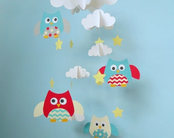 Baby Mobile/Owls and Clouds Hanging Mobile/Nursery Mobile