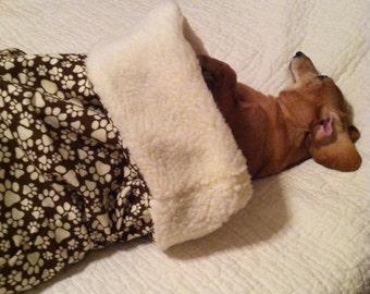 Small Dog Dachshund Brown with Tan/Ecru Pawprints Print Snuggle Sack / Sleeping Bag FREE SHIPPING within the US