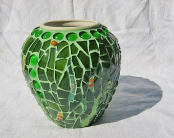 Summer Meadow, glass mosaic vase