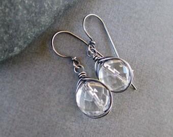 On SALE - Rock Crystal Earrings Quartz Earrings Sterling Silver Modern Jewelry April Birthstone Jewelry Sale