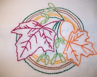 Dish Towel Flour Sack Tea Towel Maple Leaves Dish Towel Hand Embroidered Dish Towel Fall Dish Towel with Maple Leaves